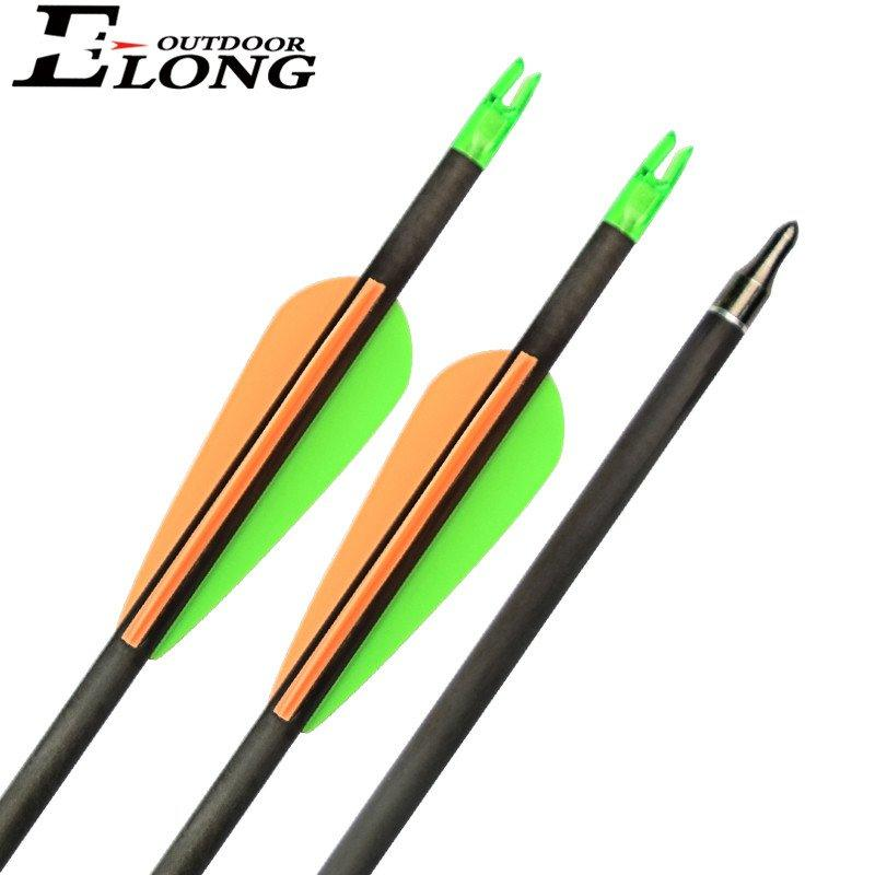 Carbon Arrow For Recurve Bow 30 Inch Archery Arrows With TPU Vanes Changeable Field Point Spine 300 Carbon Fiber Arrows