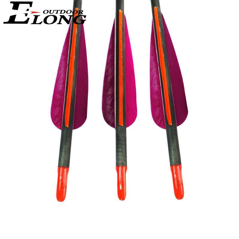 30 Inch purple Carbon Arrows With Turkey Feather For Outdoor Hunting