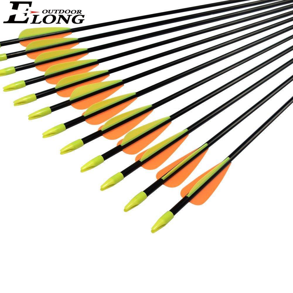 Fletched Archery Orange Vane of Fiberglass Arrows for Ourdoor Hunting & Archer