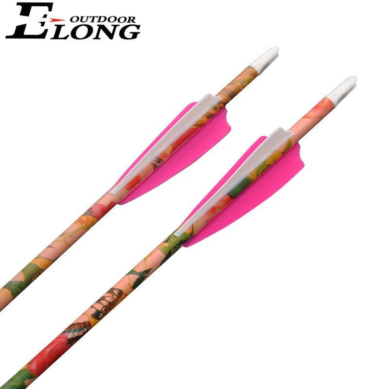 Spine 400 Archery Hunting & Shooting Pink Camo Pure Carbon Arrow for Compound Bow
