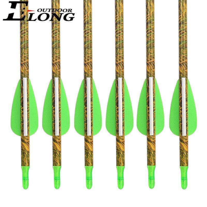 Sp340 30 inch Camo Pure Fiberglass Arrow with Streamline Vane & 100 Grain Field Points for Archery Bow