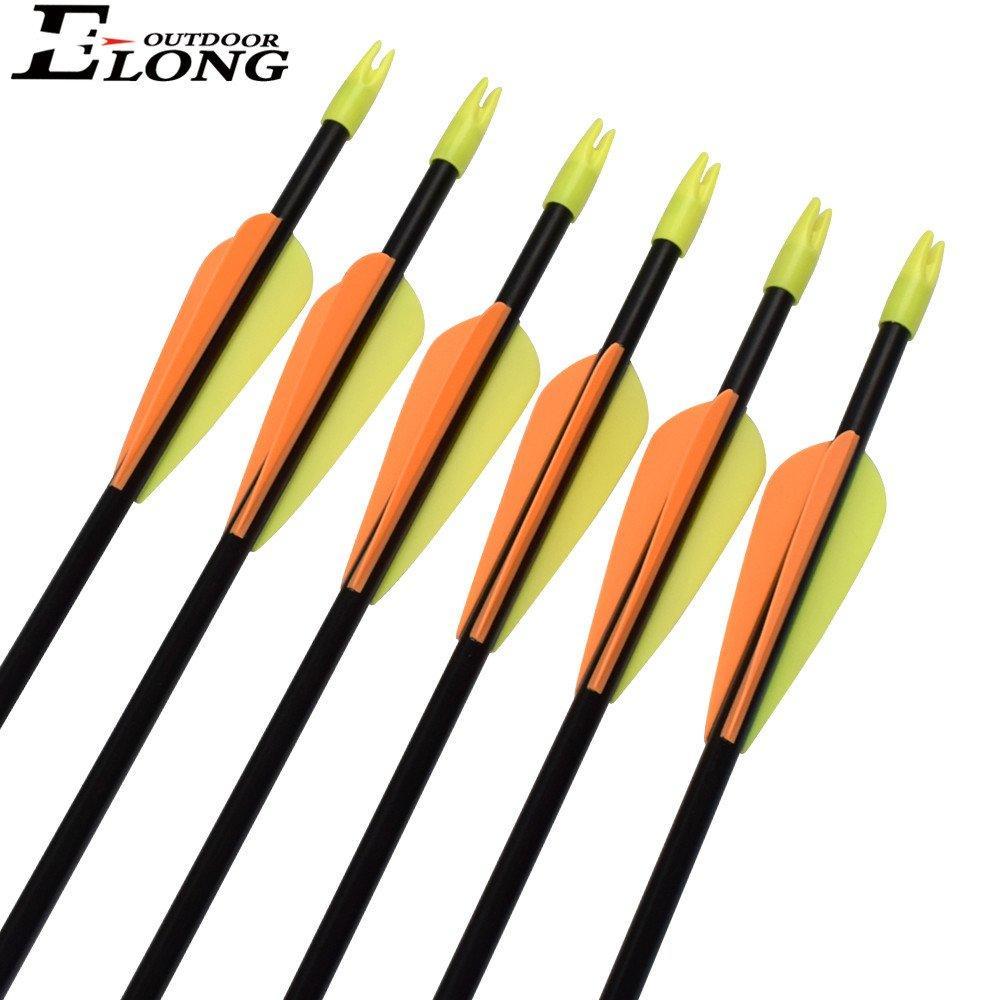 28inch Fiberglass Arrow Orange Color Plastic Vanes Nock Bullet Point for Recurve Bows Archery Sports