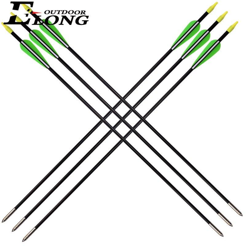 Youth Arrows Fiberglass Arrows for Recurve Bow 2 Green 1 White Vanes Black Col Shaft