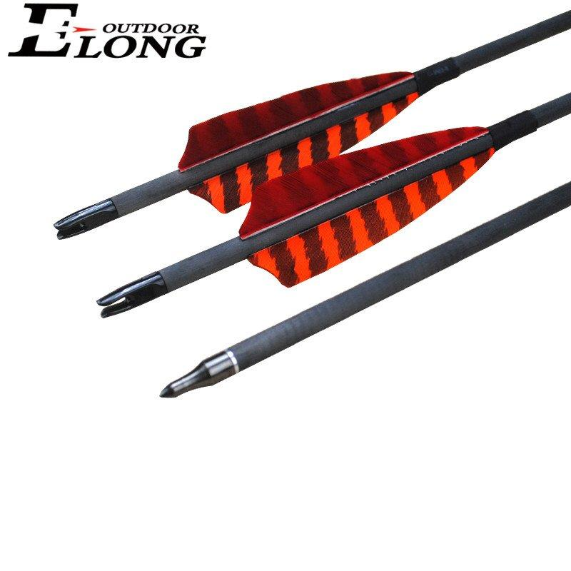 30 Inch Hunting Carbon Arrow Spine 340 Archery Pure Carbon Shaft Real Feather Vane