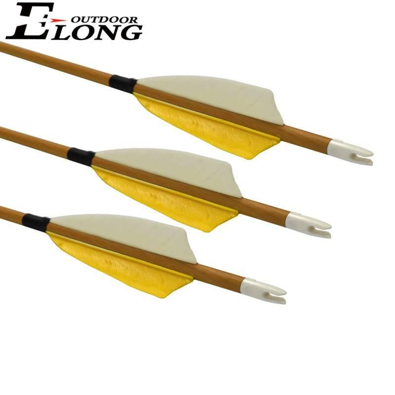 Spine 500 Hunting Carbon Arrow with Wood Grain Turkey Feather for Compound Recurve Bow