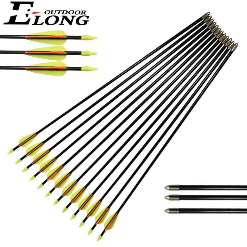 Black Color Shaft Arrow Fiberglass Arrows for Recurve Bow Sights