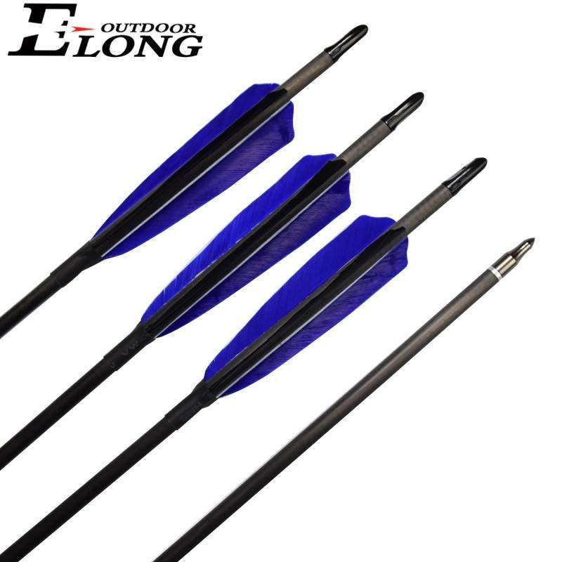 30 Inch Archery Pure Carbon Arrow With Turkey Feather Hunting Practice Shooting Arrow