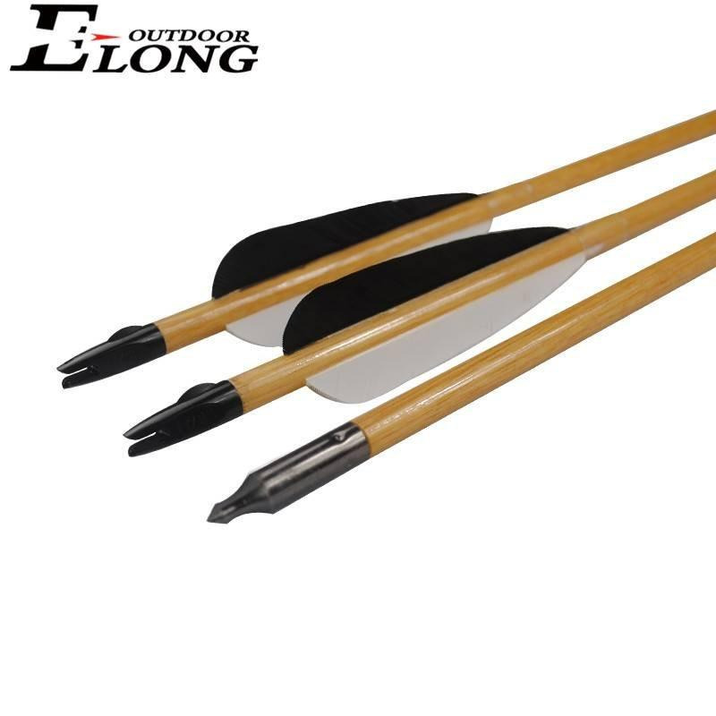 Wooden Arrow Turkey Feather Field Point Tradtional Bow Hunting Shooting Outdoor Archery Bow