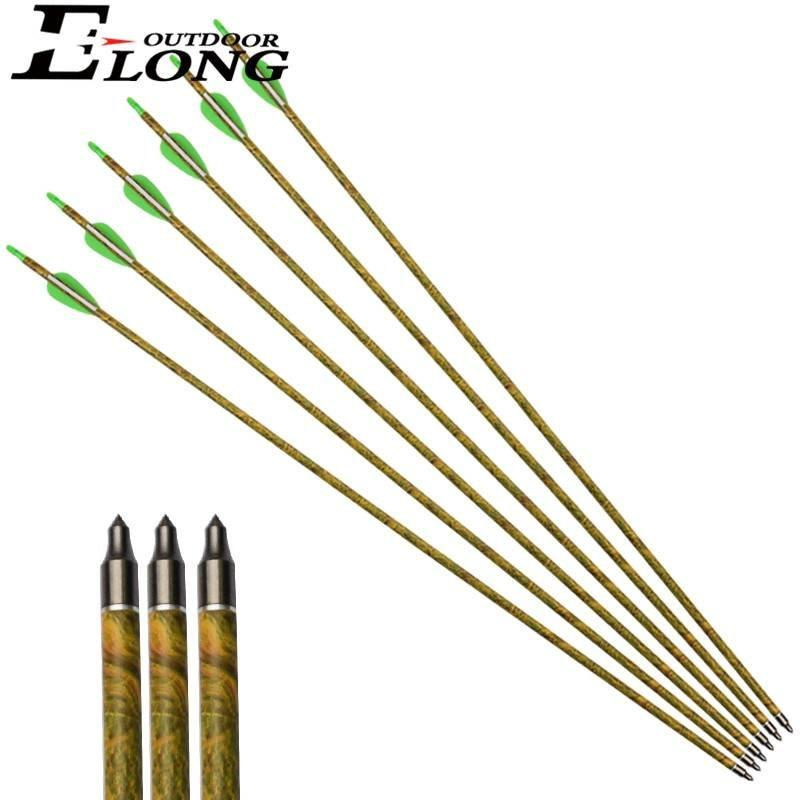 Sp340 30 inch Camo Pure Fiberglass Arrow with Streamline Vane & 100 Grain Field Points for Archery Bow