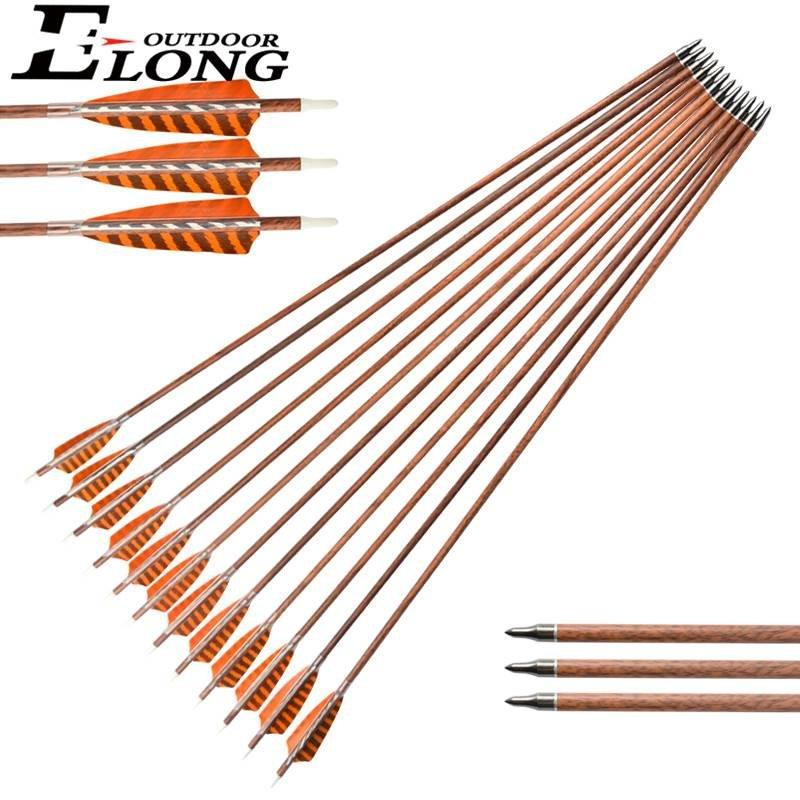Great Arrow 30 Inch SP400 Wood Carbon Camo Arrows With Turkey Feather For Outdoor Shooting