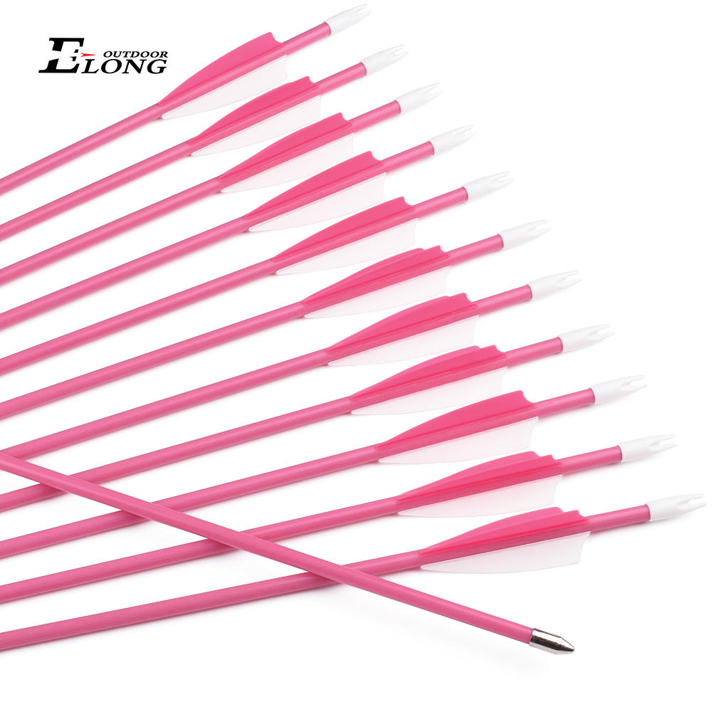 New Pink Color Archery Fiberglass Youth Arrow With Plastic Vane For Archery Bow Shooting
