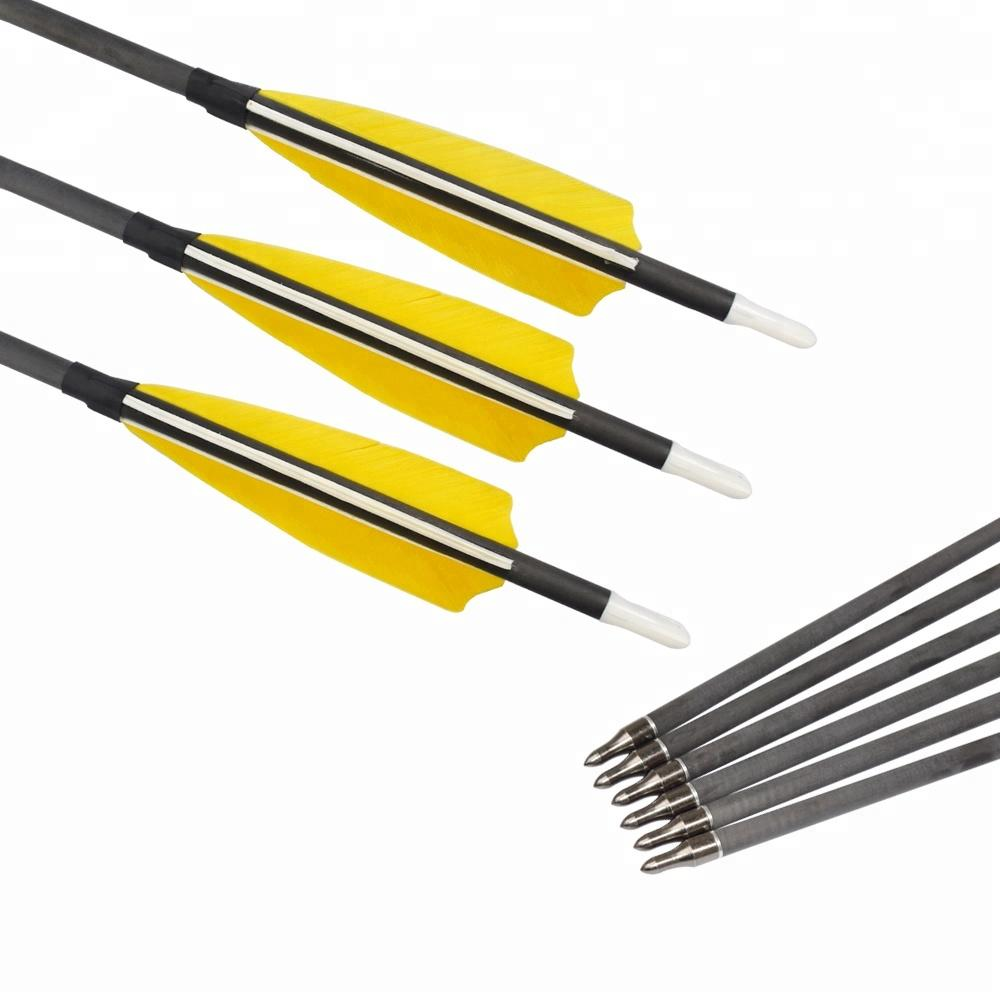 Elong Outdoor China I.D. 6.2mm 4'' Turkery Feather Carbon Arrows Traditional Arrows for Sale