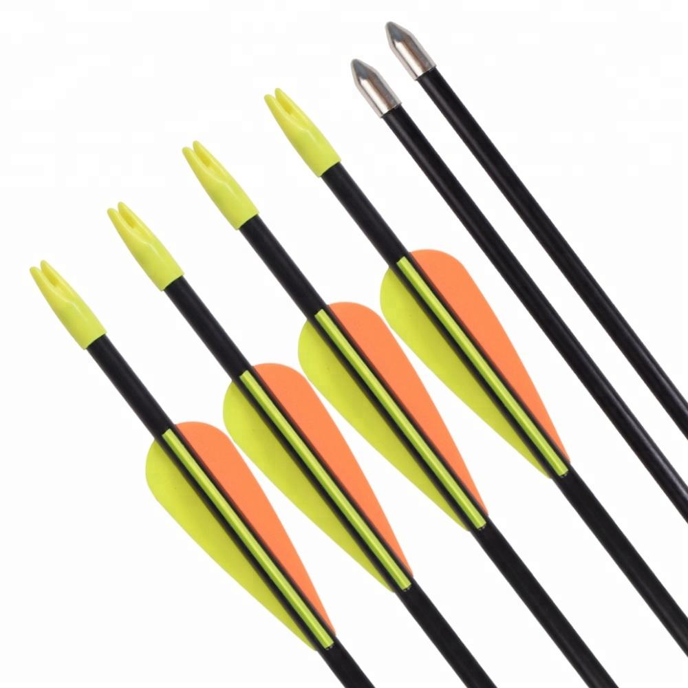 Hot Sales Archery Recurve Bow 3inch TPU Vanes Glue-on Point 7mm Glassfiber Arrows