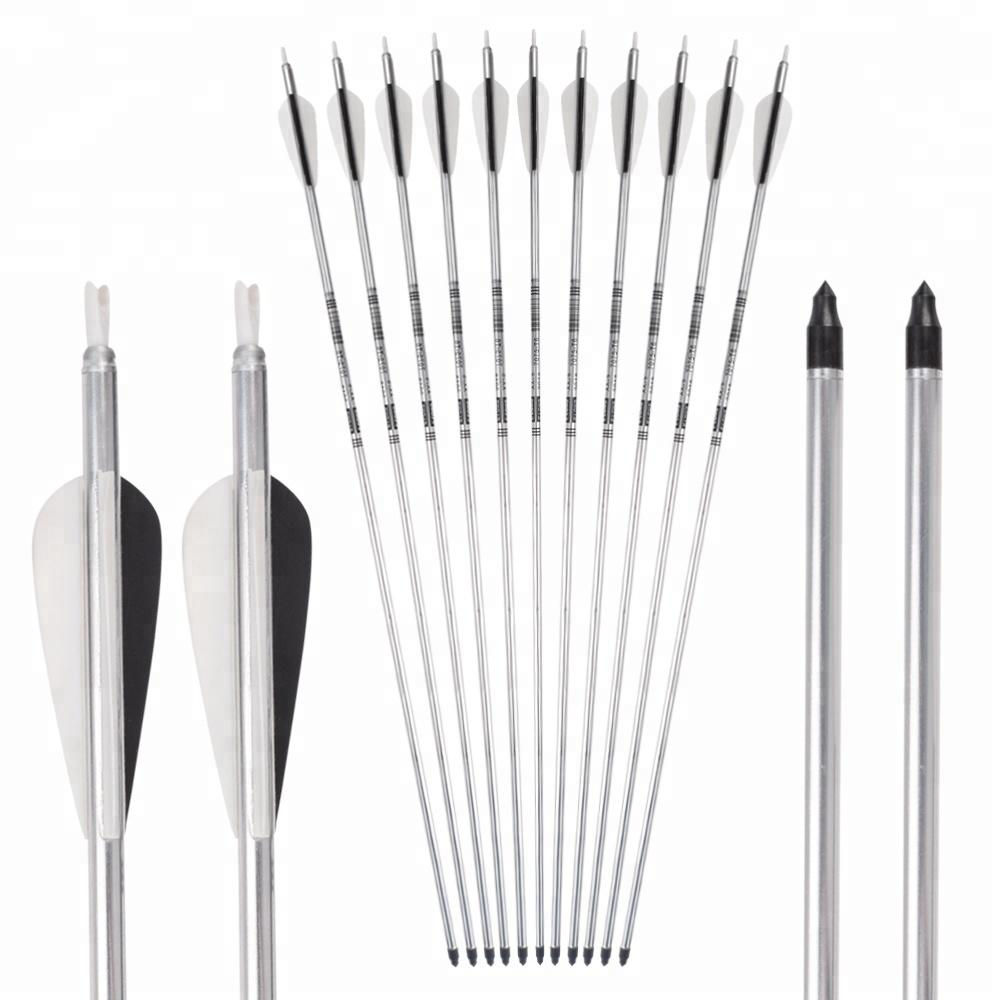 New Silver Aluminum Arrow for Compound Recurve Bow Aluminum Shaft With Plastic Vanes