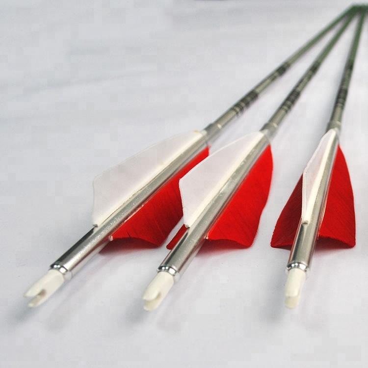 1916 Aluminum Shaft 30 inch Turkey Feather Fletch Screw Field Point Archery Bow Aluminum Arrows
