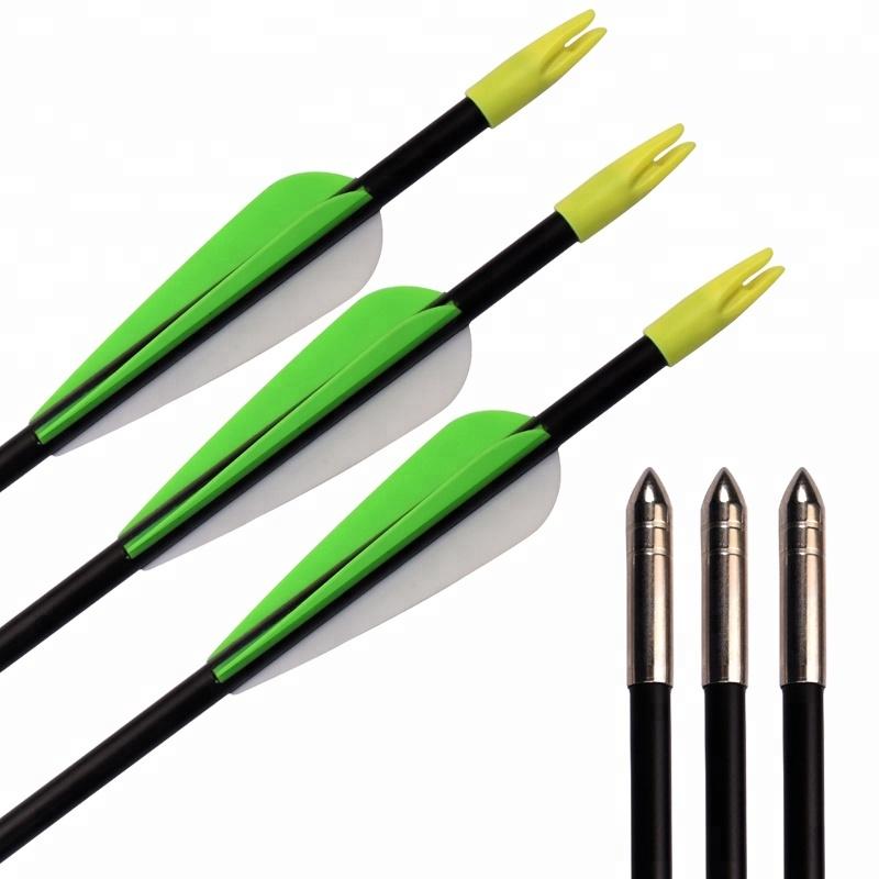 High Quality Target Shooting Practice 3'' TPU Fletching Vane Hunting Archery Fiberglass Arrow