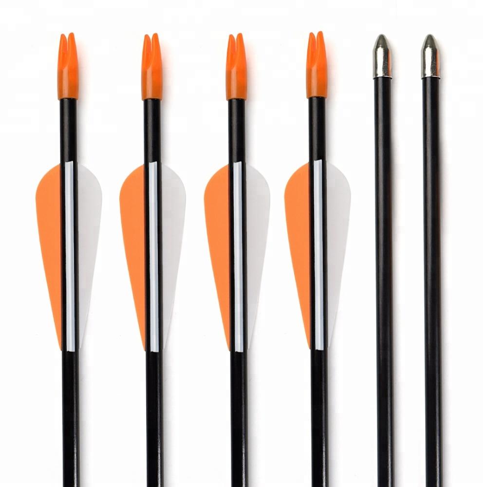 Wholesale Archery Shooting Equipment Orange Color Vane Steel Point Recurve Bow Fiberglass Arrow