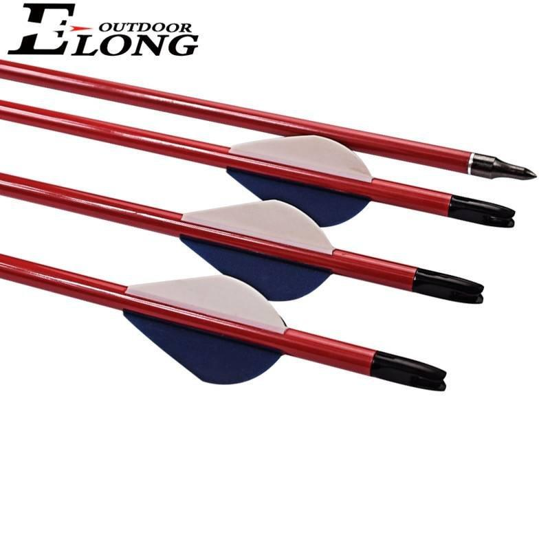 Spine 400 Red Col Carbon Arrows Tube With Fletching & Screw Points For Outdoor Archery Hunting